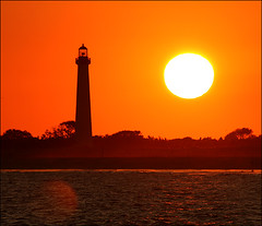 Scarface Sunset (no retouch) (M. Longfellow) Tags: sunset sun lighthouse newjersey nj capemaypoint capemay jerseyshore fireball 2007 mywinners capemayx superbmasterpiece worldphotodoc2007