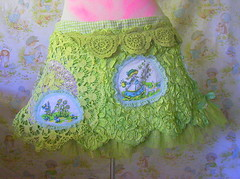 green pixie skipping skirt (blossomnbird) Tags: green art love fashion vintage design designer recycled craft style skirt fabric thrift indie etsy patchwork custom recycle tutu sustainable doiley reclaim thrifted upcycle upcycled indiedesigner trashion blossomnbird indiepublic patchamania