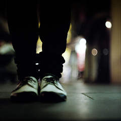 Black x White (memetic) Tags: city urban 120 6x6 feet night mediumformat dark alley shoes fuji bokeh tl melbourne pro pentaconsix ikue 800z