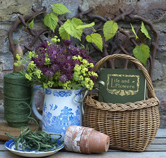 Life and Flowers (Of Spring and Summer) Tags: flowers blue stilllife inspiration flower green art texture home nature floral leaves vintage garden photography design basket purple antique cottage creative rusty plate books bowl pot pots rosemary baskets stems jug vase string romantic ribbon antiques cottagestyle bluewhite scent vases hops oldbooks shabbychic ofspringandsummer prettystems