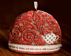 """A Pot of Tea"" Cozy (PatchworkPottery) Tags: cozy tea handmade embroidery sewing crafts quilted patchwork applique teacozy zakka"