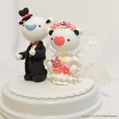 Heart bear wedding cake topper