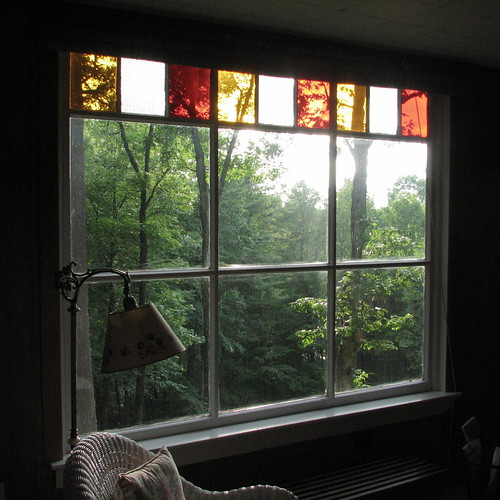 Cottage Living Room -- woods greyledge livingroom window 2007 afternoon stainedglass cottage room living