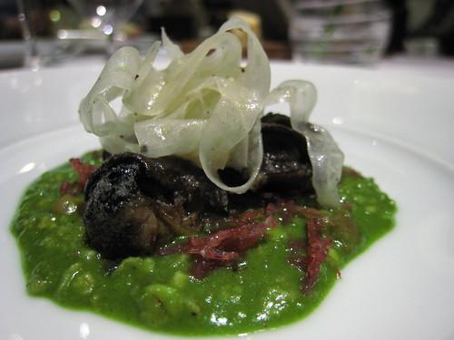 Snail porridge, joselito ham, shaved fennel