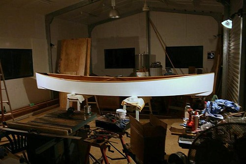 Quick Canoe finished.  Plywood Epoxy Canadian Canoe.