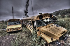 school's out - less saturated (Sam Bekkers) Tags: school dark grey cloudy gray stormy desaturated schoolbus hdr schoolisout