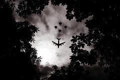 (Shemer) Tags: trees sky bw paris leaves silhouette clouds plane airplane nb 14juillet dfil aroplane