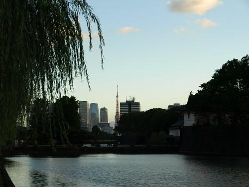 royal moat and Tokyo tower