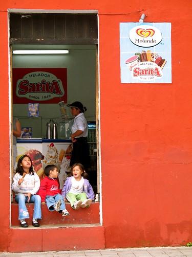 Three Kids Enjoying Ice Cream