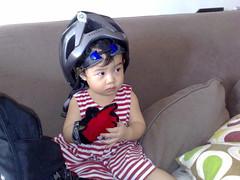Joy wearing my helmet