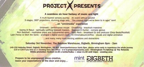 Project X Presents Flyer reverse