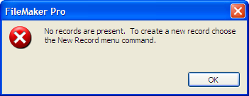 Create New Record Message