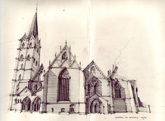 Mnster zu Herford (Flaf) Tags: shadow church pencil drawing gothic florian elevation herford romanic weserbergland afflerbach