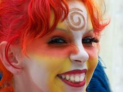 Stilt Puppeteer Companion (JKG II) Tags: california girl spiral losangeles performing arts feathers makeup center getty facepaint walkers mime stilts cy2 puppetteer challengeyouwinner
