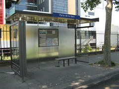 unsexy Paris bus shelter (brunoboris) Tags: paris bus bench map busshelter treetrunk transit shelter transportencommun abribus autobus ratp jcdecaux nextbus boulevardmassena informationbox busstopname portedelagare