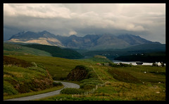 Struanmore (tanera) Tags: road mountains skye clouds fence scotland sheep shoreline cliffs cumulus cuillins anywhere lochbracadale wwwtaneracouk httptaneracouk
