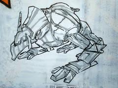Robot stencil at Difusor 2 (SpUtNik 23 -RUR und MKZ) Tags: barcelona street streetart art robot spain barcelone espania pochoir difusor rondadelguinard