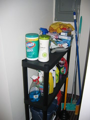 Cleaning supplies, neatly shelved