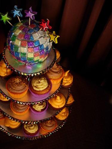 Disco Ball Cake & Cupcakes