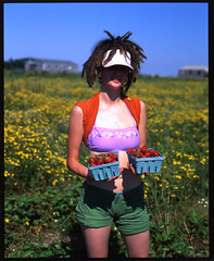 strawberry girl Nantucket (THE BLACK SPOT) Tags: ocean red sea woman hot water girl field weather island waves farm strawberries nantucket ack picker bartletts