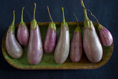 eggplant row (mwhammer) Tags: blue stilllife food color texture metal rust purple display eggplant object vegetable explore aubergine plates cloth courgette propstyling foodstyling geometrictonalvision melinahammer tabletopstyling