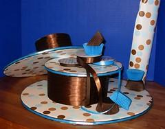 Custom Cupcake Stand Deconstructed (mandotts) Tags: blue cakestand chocolate teal polkadots ribbon dots cupcakestand customcupcakestand customcakestand