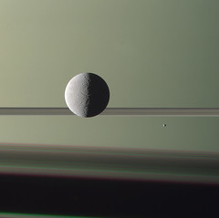 Rhea and Epimetheus RGB (Lights In The Dark) Tags: moon nature space nasa rings astronomy saturn rhea cassini