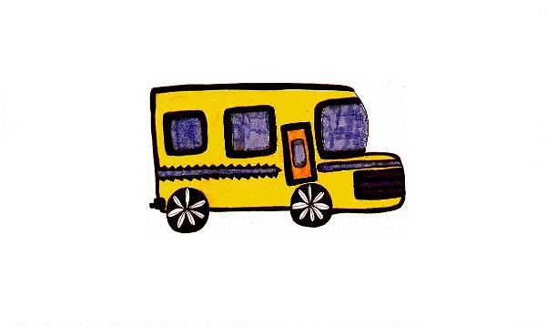 yellow blue bus by Etnie
