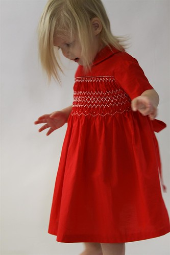 1961 Hand Smocked Red Toddler Dress Boutique Vintage