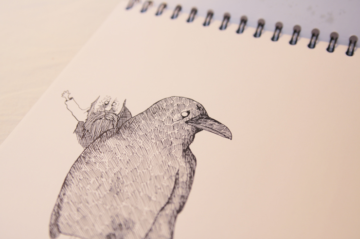 a crow in progress