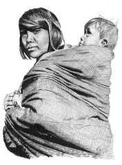 Sioux Woman and child (ToOliver2) Tags: portrait art southdakota child indian mother nativeamerican babywearing plains motherandchild crosshatch penink sioux rapidograph crosshatching greatplains indiaink interestingness93 i500 babywear tonyoliver impressedbeauty superbmasterpiece i500verified