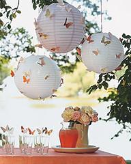 Borboletas nos balões de papel