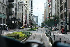 Metro Rail Driver's View (J-a-x) Tags: street urban usa architecture train buildings mainstreet downtown texas publictransportation metro tx houston lightrail streetscape metrorail mappingmainstreet