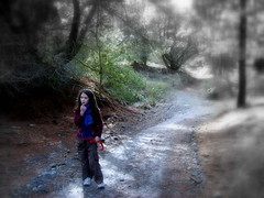 Lost (Jane A Keats) Tags: trees newzealand cold nature girl mystery lost forrest path stones walk experiment best story lonely pathway pratibimb sangli flickrturns4