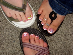 Alston Sister Pedicured Feet (AlaskaTeacher) Tags: feet toes sandals pedicure nailpolish nailsalon chacos prettyfeet