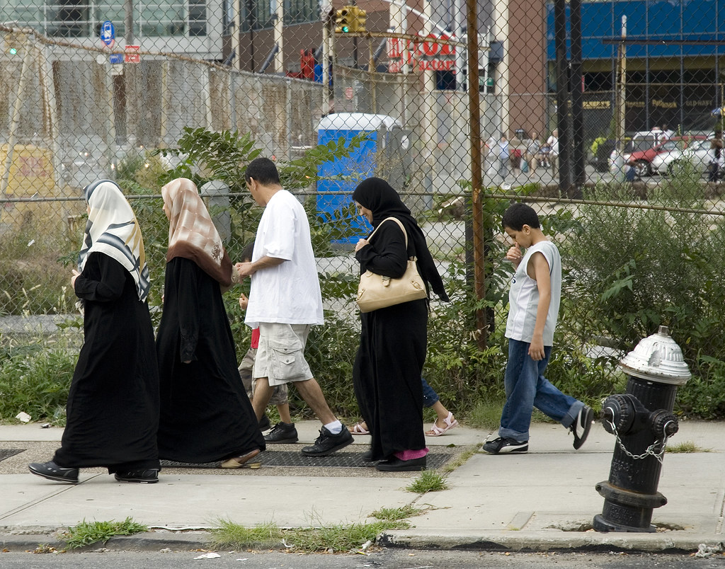 family stroll through the yard