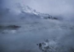 Steam and fog ... (asmundur) Tags: blue water fog photography iceland bravo foggy lagoon steam electricity powerplant hdr 3xp svartsengi september2007 grindavik