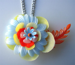 Blue, Yellow and Orange Vintage Flowers Necklace