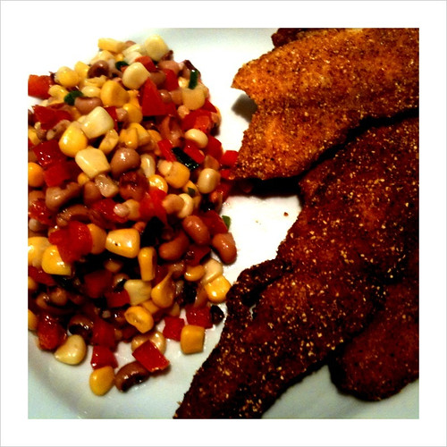 Cornmeal crusted trout w/ black eyed pea salad