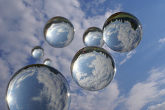 Bubbles and Clouds (Dragan*) Tags: light sky cloud macro reflection glass ball sphere seven refraction bubble getty droplet glassball glassglobe giap justclouds