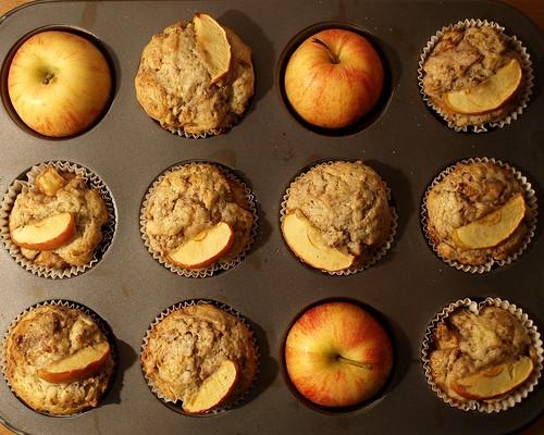 Bratapfelmuffins in Reih und Apfel