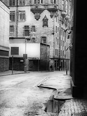 An Edinburgh Street (C.W. Thomas) Tags: windows blackandwhite bw reflections puddle edinburgh cobbles nx10
