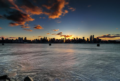 New York City (mudpig) Tags: nyc newyorkcity cloud sun ny newyork reflection skyline skyscraper sunrise river geotagged newjersey cityscape nj esb hudsonriver empirestatebuilding hdr hoboken mudpig stevekelley