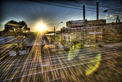 White Bay Sunrise (alexkess) Tags: street bridge urban white clouds sunrise buildings bay nikon cityscape harbour sydney australia nsw flare cbd d200 hdr balmain lightroom photomatix 5xp