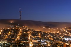 Cold Summer Night (A Sutanto) Tags: sf sanfrancisco california ca street longexposure blue usa fog night america lights hill twinpeaks hour bluehour soe sutrotower mckinleysquare aplusphoto excellentphotographerawards