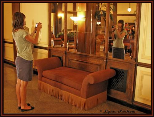 Ann, camera, reflection, Whitman Hotel