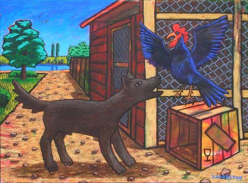 Gallo y a2m y perro