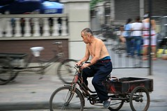 driver (greenspan2424) Tags: china street old people man canon ride tricycle chinese driver tianjin 30d barebacked