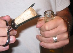 A cork set in a two pronged cork extractor