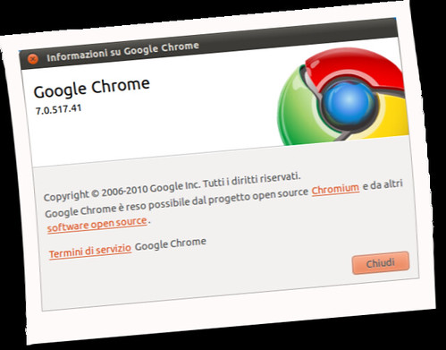 Finestra informazioni Google Chrome 7;